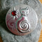 Silver Pewter Cat Brooch with Garnet, Sphynx Cat