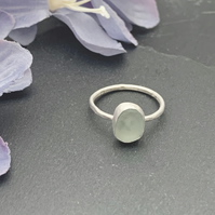 Sterling Silver and Sea Glass ring size Q