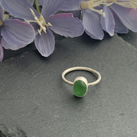 Sterling Silver and Sea Glass ring size P