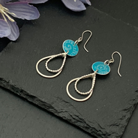 Printed Aluminium and sterling silver drop earrings -Turquoise
