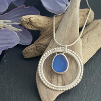 Sterling Silver and Sea Glass Halo Necklace