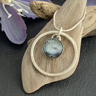Sterling Silver and Dichroic Glass Halo Necklace