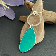 Sterling Silver and Printed Aluminium Pendant - Green leaf