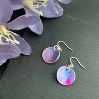 Printed Aluminium and sterling silver earrings - Blue and purple