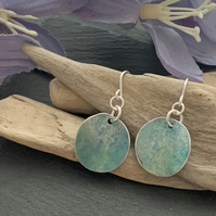 Printed Aluminium and sterling silver earrings - Soft green and blue