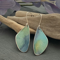 Printed Aluminium and sterling silver earrings - Green blue watercolour effect