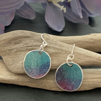 Printed Aluminium and sterling silver earrings - Turquoise, lilac and purple
