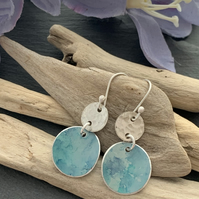 Printed Aluminium and sterling silver earrings - blue water colour
