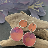 Printed Aluminium and sterling silver earrings - soft orange and purple sunset