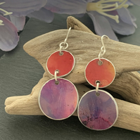 Printed Aluminium and sterling silver earrings - soft orange and purple sunrise