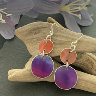 Printed Aluminium and sterling silver earrings - soft orange and purple