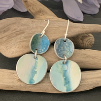 Water colour collection - hand painted aluminium earrings teal and green