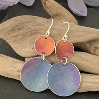 Water colour collection - hand painted aluminium earrings orange and cornflower