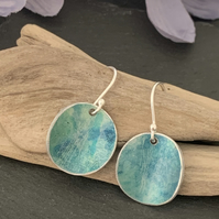 Water colour collection - hand painted aluminium earrings teal green and blue