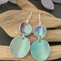 Water colour collection - hand painted aluminium earrings pale teal, purple blue