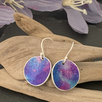 Water colour collection - hand painted aluminium earrings purple and blue