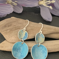 Water colour collection - hand painted aluminium earrings sky blue and lime