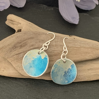 Water colour collection - hand painted aluminium earrings turquoise and lime