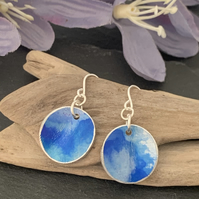 Water colour collection - hand painted aluminium earrings sky and blue
