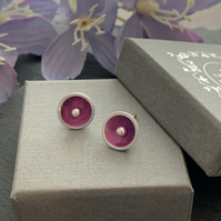 Water colour collection - hand painted aluminium sterling silver domed earrings