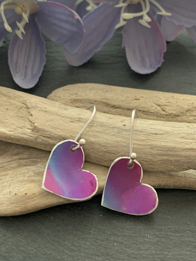 Water colour collection - hand painted aluminium heart earrings