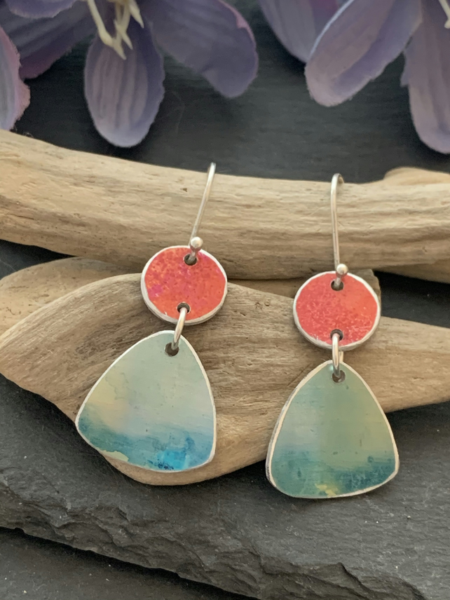 Water colour collection - hand painted aluminium earrings orange and pale teal