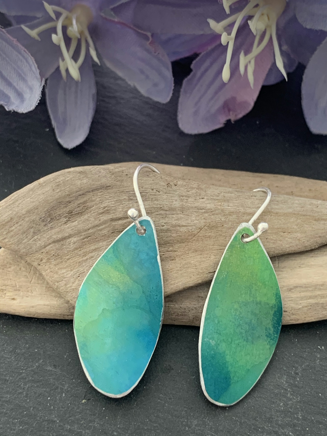 Printed Aluminium and sterling silver earrings -Green and blue