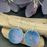 Water colour collection - hand painted aluminium earrings blue and purple