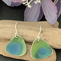 Printed Aluminium and sterling silver earrings - Lime and blue