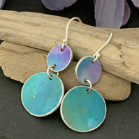 Printed Aluminium and sterling silver earrings - turquoise and purple