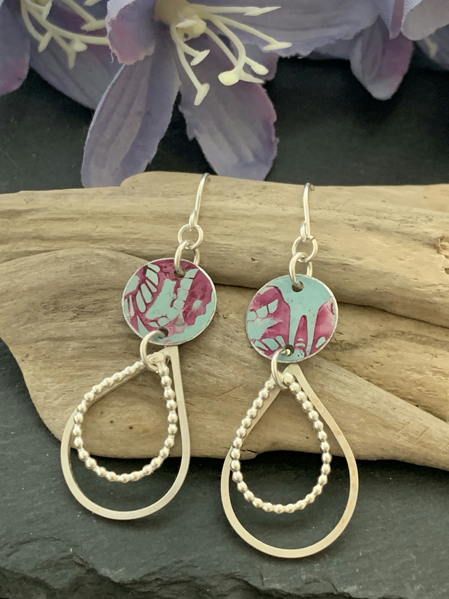 Printed Aluminium and sterling silver drop earrings -duck egg and pink butterfly