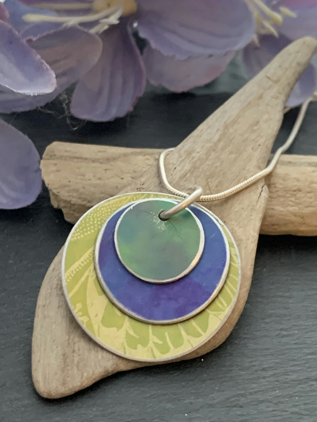 Water colour collection - hand painted aluminium pendant, lime green and purple