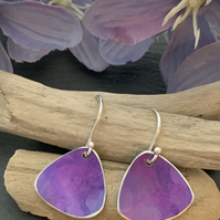 Printed Aluminium and sterling silver earrings - Raspberry Pink and purple