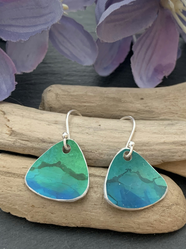 Printed Aluminium and sterling silver earrings - Green landscape