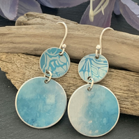 Printed Aluminium drop earrings - Turquoise Butterfly