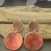 Printed Aluminium and sterling silver earrings -Orange and red