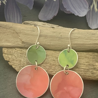 Water colour collection - hand painted aluminium earrings orange and lime