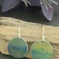 Water colour collection - hand painted aluminium earrings soft green