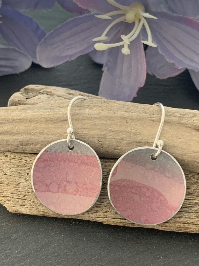 Hand painted aluminium earrings sage and pink stripes