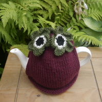 Dark Pink and Olive Flower Tea Cosy