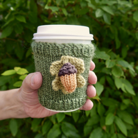 Acorn and Oak Leaf Cup Sleeve, Takeaway Coffee Sleeve