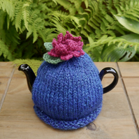 Small Lily Tea Cosy, Sparkly One Cup Tea Cosy with Pink Water Lily Flower