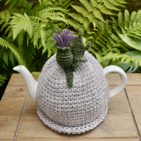 Thistle Tea Cosy, Tunisian Crochet Tea Cozy with Scottish Thistle
