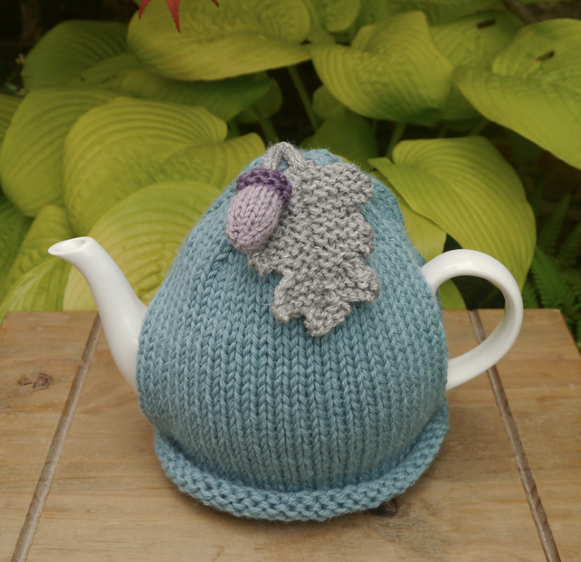 Alpaca Acorn Tea Cosy, Sea Green Oak Leaf Teapot Cozy