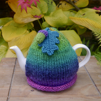 Bright Autumnal Tea Cosy with Acorn and Oak Leaf Embellishments
