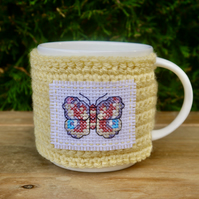 Butterfly Mug Cosy, Yellow Crochet Mug Cozy