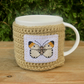 Brown Butterfly Mug Cosy, Cup Cosie