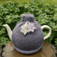Heather Roll Neck Tea Cosy With Oak Leaves