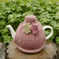 Pink Oak Leaf Tea Cosy, Roll Neck Teapot Cosy