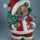 Red Ceramic Xmas Christmas Santa Claus Bear Animal Figurine Ornament Decoration.
